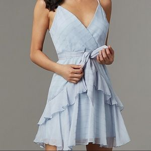 Light Blue Striped Short Party Dress